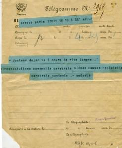 Télégramme-à Jules Dejerine en 1885 Sujet du concours de l'internat