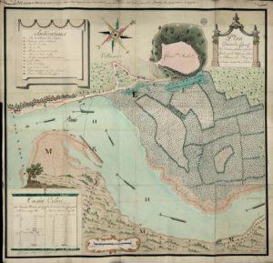 Plan géométral et figuratif des créments plantés en saules, formés par le Rhône au port de Villeneuve-lès-Avignon, contenant environ 60 salmées.