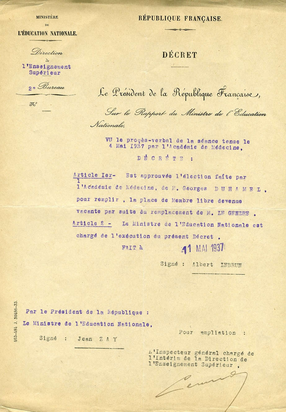 Décret entérinant l'élection de Georges Duhamel à l'ANM_11.05.1937