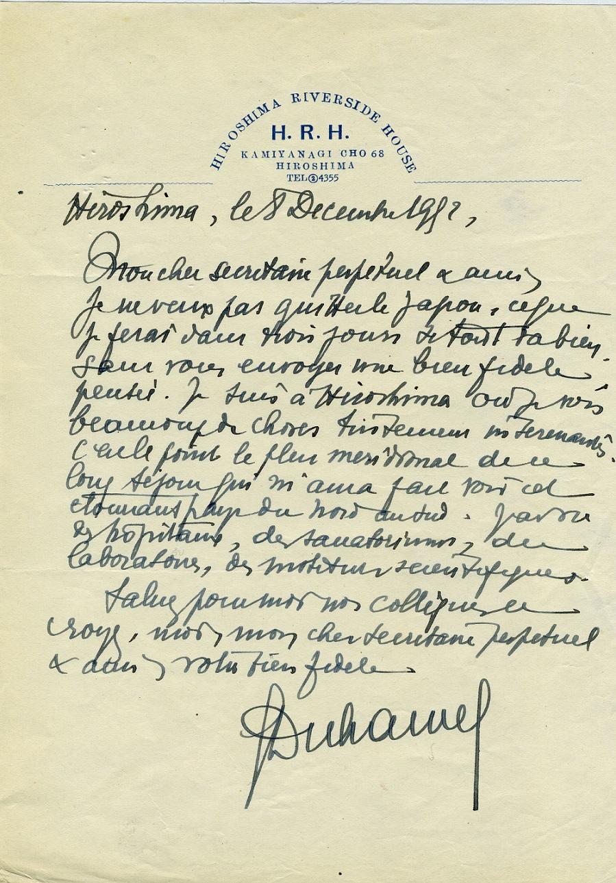 Lettre de Georges Duhamel à l'ANM_08.12.1952